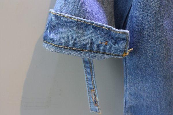 *╮小衣衫S13╭*奧莉薇印花中袖長版牛仔襯衫  1050801