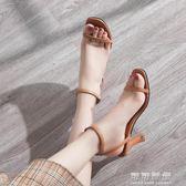 女鞋夏季一字扣小清新少女高跟鞋女細跟chic復古羅馬涼鞋可可鞋櫃