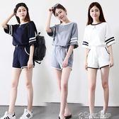 短袖短褲運動套裝女夏新款少女18學生寬鬆25跑步休閒兩件套女color shop