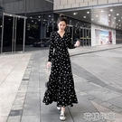 波點V領氣質大擺長裙2021夏季新款韓版可鹽可甜小鄒菊碎花連衣裙快速出貨