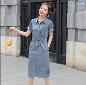 牛仔裙連身裙S-2XL薄款夏裝港味復古chic裙子輕熟風氣質牛仔連衣裙S09.5211號公館