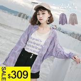 LULUS-C單口袋格紋襯衫-2色  現+預【01032087】