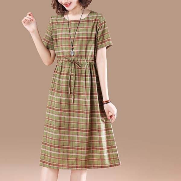 日系格紋顯瘦洋裝 獨具衣格 J2771