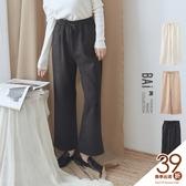 寬褲 純色麂皮絨綁帶鬆緊彈性寬管褲-BAi白媽媽【191003】