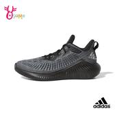 adidas ALPHABOUNCE+ 大童 成人女款 運動鞋慢跑鞋 R9383#黑色◆OSOME奧森鞋業