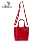 日本限定 三麗鷗 凱蒂貓 HELLO KITTY 格子風 2WAY 手提包 / 單肩包 / 斜背包 紅色款