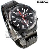 SEIKO精工錶 公司貨 Criteria 太陽能 韓風 三眼 計時碼錶 男錶 IP黑電鍍 SSC657P1 V176-0AW0SD