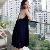 露背睡裙莫代爾棉冰絲寬鬆大碼睡衣女夏性感清新吊帶連身裙新薄款  Cocoa