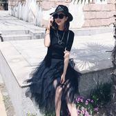 女高腰褶皺半身長裙半身裙網紗裙黑色蓬蓬裙