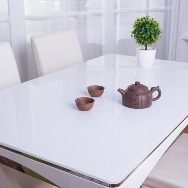 70*70cm餐桌布純白色黑色不透明水晶板軟質玻璃餐桌墊【奇趣小屋】