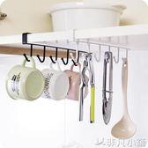 廚房鐵藝無痕免釘掛鉤櫥櫃收納掛架多功能排鉤衣櫃領帶圍巾整理架igo      非凡小鋪