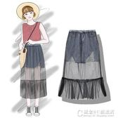 仙女網紗牛仔半身裙女夏季水洗毛邊磨破假兩件短裙 概念3C旗艦店