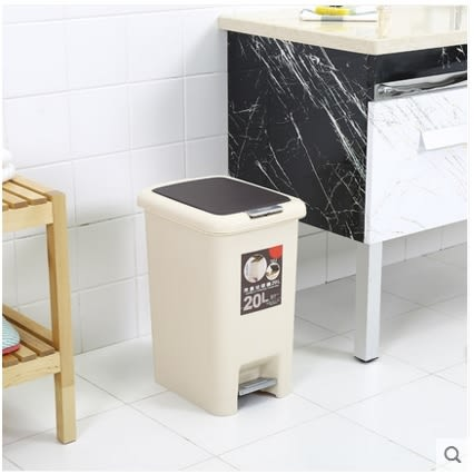 小鄧子大號垃圾筒手按腳踏垃圾桶有蓋創意塑料辦公室衛生間客廳廚房家用(20L)