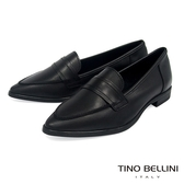 Tino Bellini 義大利進口純色簡約尖楦微跟樂福鞋 _ 黑 TF8501 歐洲進口款