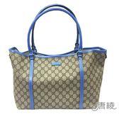 【GUCCI 古馳】197954 JOY系列GG PVC防水牛皮飾邊托特包(藍)