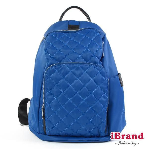 iBrand後背包 率性菱格紋後開式防盜尼龍後背包(M)-爵士藍 HS-2003
