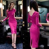 顯瘦連身裙女中長款長袖性感包臀裙修身禮服