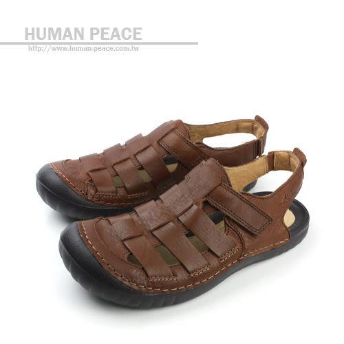 Clarks 皮革 透氣 清涼 舒適 抗震 好穿脫 涼鞋 戶外休閒鞋 咖啡色 男鞋 no595