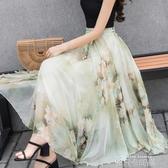 半截長裙夏雪紡中長款女士A字演出大擺裙顯瘦復古印花繫帶紗裙女 依凡卡時尚