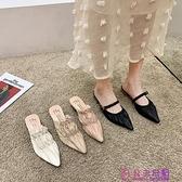 包頭半拖鞋女外穿春季新款韓版時尚百搭網紅尖頭編織粗跟涼拖可批發量販【公主日記】