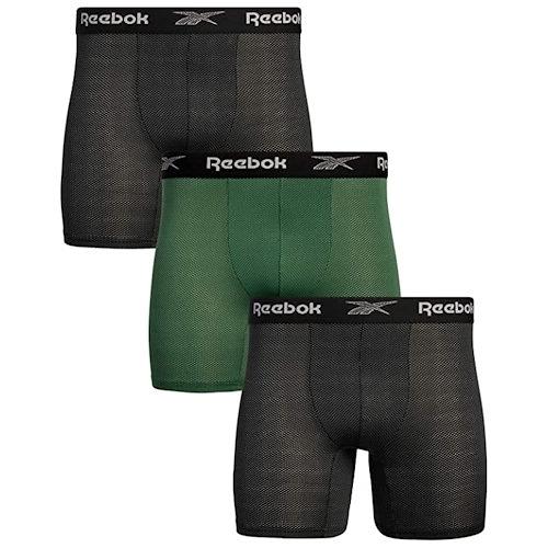 Reebok 男士運動吸濕排汗尼龍網狀四角內褲(3件組黑色/綠色)