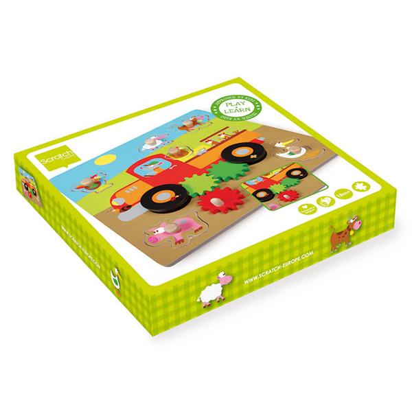 【 比利時 Scratch 】農場齒輪木拼圖 / JOYBUS玩具百貨