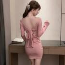 長袖洋裝 辣妹性感連身裙女秋裝 甜辣風大露背裙緊身包臀床上小短裙  降價兩天