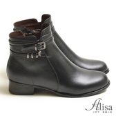 專櫃女鞋 皮帶釦水鑽墜鍊低跟短靴-艾莉莎Alisa【15735】黑色下單區
