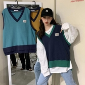 秋裝韓版新款時尚拼色V領寬鬆開叉BF風網紅無袖背心馬甲女裝 韓國時尚週