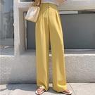 雪紡褲 黃色寬管褲寬褲女高腰垂感夏季新款直筒西裝顯瘦褲拖地長褲休閒雪紡褲-Ballet朵朵