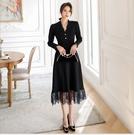 中大尺碼洋裝 L-5XL V領長袖蕾絲拼接顯瘦洋裝 #wm1169 @卡樂@