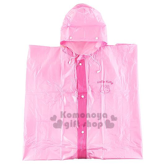 〔小禮堂〕Hello Kitty 成人前開式雨衣《粉.坐姿.拿條紋愛心》尺寸2XL 3050656-98002