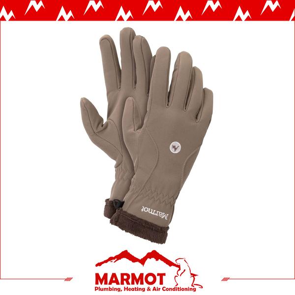 【MARMOT 女 Fuzzy Wuzzy 防風軟殼手套《茶》】18410/刷毛手套/機車手套/保暖/寒流/賞雪