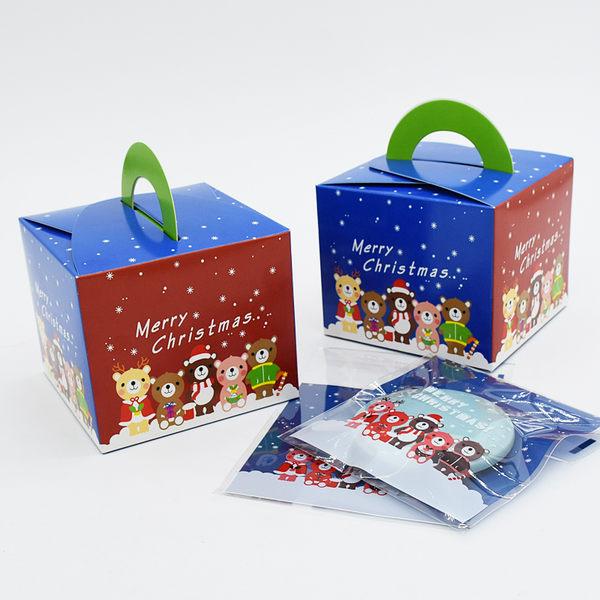 聖誕小動物手提盒 耶誕節 烘焙包裝 禮品包裝 復古提袋 餅乾袋 禮品 蛋糕 西點盒 喜糖盒 外帶盒