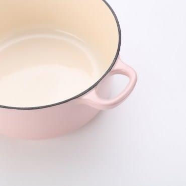 HOLA Amour亞莫鑄鐵琺瑯湯鍋20cm 櫻花粉 2.5L 馬卡龍色 雙耳 不挑爐