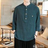 夏中國風寬鬆亞麻短袖男中袖棉麻布t恤胖子加肥加大碼七分袖上衣 依凡卡時尚