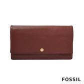 FOSSIL AUBREY 金釦設計多功能零錢長夾-酒紅色 SL7811227