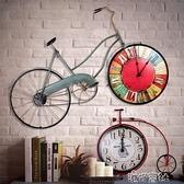 復古鐵藝腳踏車壁掛創意家居酒吧咖啡廳墻面掛件鐘墻上裝飾品壁飾 港仔HS