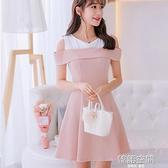 大碼韓版短袖百搭洋裝女時尚顯瘦拼接打底裙 【韓語空間】