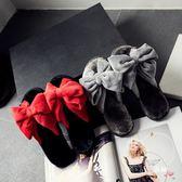 室內拖鞋秋室內月子居家居情侶棉拖蝴蝶結女地板毛絨一字毛毛拖鞋女 聖誕交換禮物