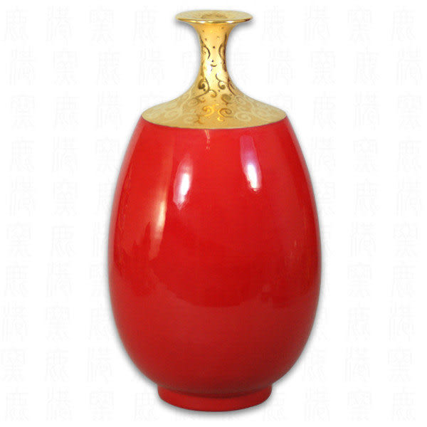 鹿港窯~居家開運瑬金喜紅釉花瓶~小高橄欖瓶;購物清單:1件