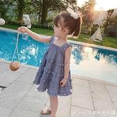 童裝夏裝寶寶裙子吊帶裙背心裙女童洋氣格子蛋糕裙兒童韓版洋裝/連身裙 快速出貨