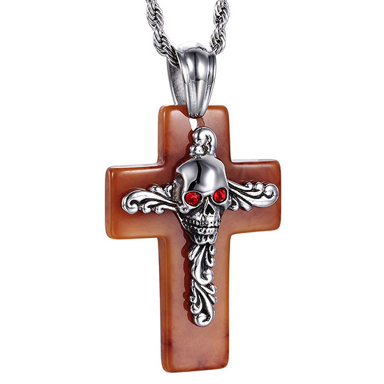 《 QBOX 》FASHION 飾品【CKP42984-BD】精緻個性粗曠骷顱頭樹脂十字架鋼墬子項鍊