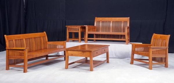 【新精品】KL-11 柚木鄉村條狀組椅 需搭配車趟費