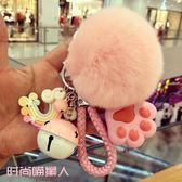 鑰匙圈 創意可愛毛絨鑰匙扣女可愛貓爪獺兔毛球汽車鑰匙錬掛件女士     唯伊時尚