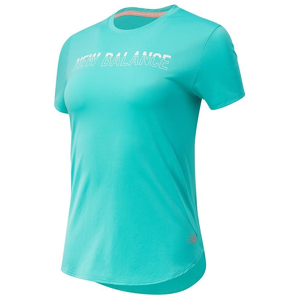 New Balance Accelerate 女裝 短袖 慢跑 Dry 輕量 反光LOGO 綠【運動世界】AWT11221SUJ