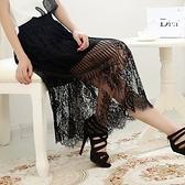 蕾絲裙(中長裙)-透視豎條蕾絲花型飄逸女裙子2色73x24【巴黎精品】