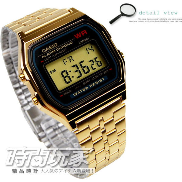 CASIO 復古風潮的方形經典電子錶 大錶面設計 A159WGEA-1 數位電子中性錶(金) A159WGEA-1DF 時間玩家