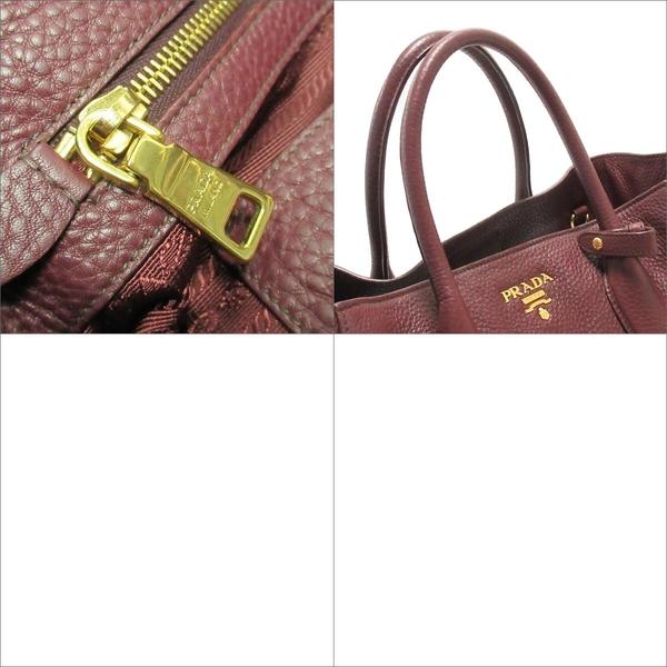 PRADA 普拉達 紫紅色牛皮金釦手提肩背2way包 【BRAND OFF】