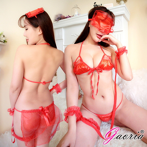 情趣內衣 內衣 內褲  【Gaoria】閨房遊戲 三點式 多件套遊戲 性感情趣內衣 紅N4-0044